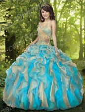 Stock Ball Gown Organza Quinceanera Dresses Vestidos De 15 Anos Stock Size 2-16