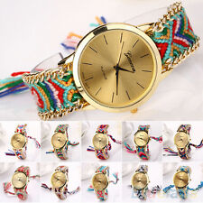 Women's Graceful Geneva Cotton Blend Braided Analog Quartz Bracelet Wrist Watch