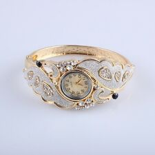 Retro Gold Plated Wings Crystal Women hinged Frosted Bracelet bangle Watch