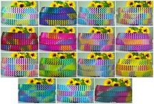 "7/8"" CHEVRON RAINBOW FOIL TYE DYE BLING GROSGRAIN RIBBON 5 YARDS - 15 COLORS"