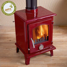 DEFRA APPROVED Eco Enamel Petit Multifuel Woodburning Stove Stoves 5kw Red