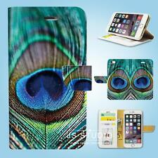 iPhone 6 6 Plus 5 5S 5C 4 4S Print Flip Wallet Case Cover Peacock feather W140