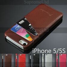Genuine Ultra Thin Leather iPhone 5 5S Credit Card Back Case Cover Two Slots