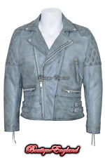'RECKLESS' Men's GREY Stone Washed Biker Style Motorcycle Real Leather Jacket