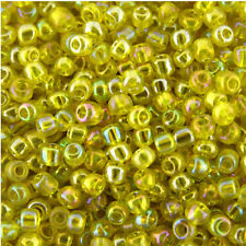 150g Yellow Transparent Rainbow Glass Seed Beads Size 8/0 (3mm),Jewellery Making