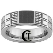 10mm Pipe Tungsten Carbide Lasered Doctor Who Tardis Ring Available In Size 4-17