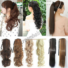 Women Ponytail Hair Extensions Ribbon Clip In Curly Wavy Straight Pony Tail Hot