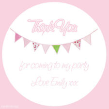 Personalised Thank You Pink Bunting Personalised Thank You Party Stickers -N432