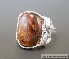 Sterling Silver Pietersite Cabochon Wire Wrapped Ring