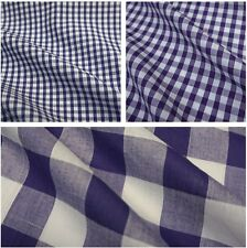 Purple & White Corded Polycotton Gingham Fabric - 3 Sizes *Per Metre