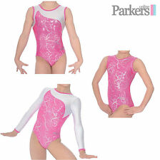BRAND NEW ZONE GIRLS SORBET LEOTARD DANCE GYMNASTICS GYM PINK/SILVER SIZE 24-38