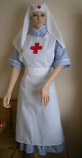WW1 WW2  RED CROSS NURSE inspired APRON  HAT-VEIL - CROSS OVER BACK STRAPS 40s