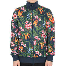 New Mens Y3  Track Top - Navy Floral  Long Sleeve  Funnel Neck