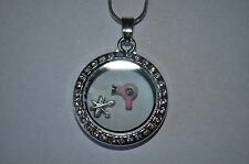 FLOATING LOCKET NECKLACE FOR HAIR STYLIST! GIFT FOR HAIR DRESSER  2 FREE CHARMS!
