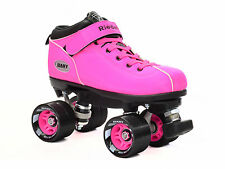 Riedell Pink Dart Quad Roller Derby Speed Skates w/ 2 Pair of Laces Pink & Black