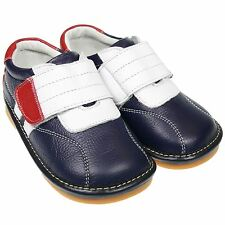 Boys Girls Toddler Childrens Real Leather Squeaky Shoes - Navy Blue, White & Red