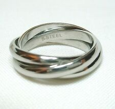 High Polished Stainless Steel Russian Wedding Three-Band Ring Size 11 12, 13
