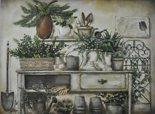 "BR272 Potting Bench II Pam Britton 18""x24"" framed or unframed print art"