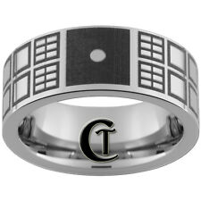 8mm Pipe Tungsten Carbide Lasered Dr Who Tardis Design. Available In Size 4-17