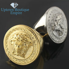 fashion men stainless steel Gold Silver Medusa head face big round ring size 8 9