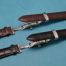 Genuine Leather Watch Strap with Push Button Deployant Clasp for All 19mm 21mm