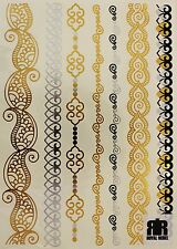 Metallic Temporary Tattoo Bracelets (Silver & Gold) 1 Sheet by Royal Rebel