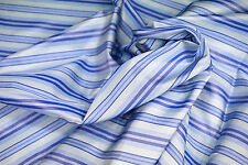 "100% Silk Fabric Luxury Pre-dyeing White Blue Color Blue Striped Up to 45"" KOREA"