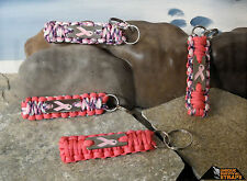 Breast Cancer awereness parachute cord Key chains w/ engraved pink ribbon charm