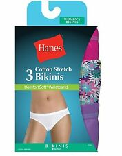 Hanes Women's Cotton Stretch Bikini with ComfortSoft Waistband 3-Pack ET42AS