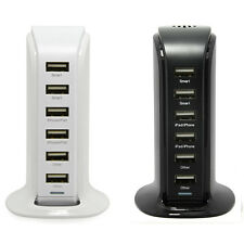 Wall Charger 8A Desktop Tower Charging Station 6 Ports (black)