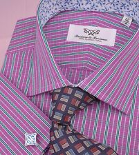 Red Striped Floral Formal Business Dress Shirt White Contrast Collar French Cuff