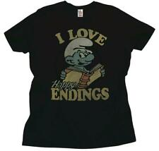 Adult Black TV Show Junk Food Papa Smurf I Love Happy Endings T-Shirt Tee