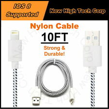 10FT New Braided Nylon USB Charging Data Sync Cable Cord Fit iPhone SE 6S Plus 5