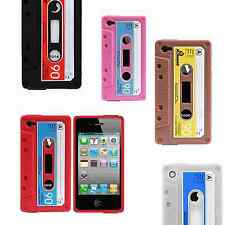 Retro Silicone Cassette Style Tape Skin Case Cover for iPhone 4 4S NEW USA