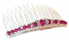 RUBY RED Crystal Hair Comb Handcrafted Swarovski Elements