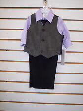 Infant & Toddler Boys 4pc Lavender & gray Pin stripe suit Sizes 12Month-4T