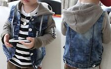 Boys Denim Jacket Coat Hooded Hoodie Fleece Summer Party Cool Design Warm Size