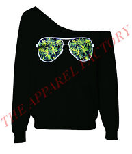 Weed Glasses Off Shoulder Slouchy Sweatshirt Kush Dope Diamond 420 Blunt Sweater