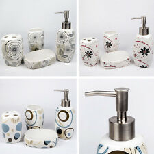 Setof4 Ceramic Bathroom Accessory Lotion Bottle Soap Dish Toothbrush holder Cup