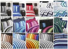 Reversible Striped Stripey Duvet Quilt Cover Bedding Set and Pillowcase