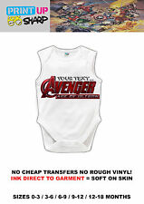 YOUR TEXT ..little Avenger Baby Grow  - GiFT - Newborn - Toddler - Marvel comic