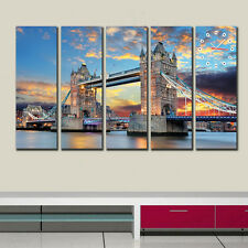 Sunset view of London Bridge Modern Artistic Canvas Prints Set of 5 framed hang