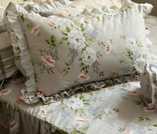 1pc Vintage Rural Style Floral Base Embroideried Ruffle & Lace Pillowcase Sham