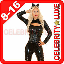 Catwoman Superhero Cat Woman Girl Fancy Dress Costume PVC Faux Leather Jumpsuit