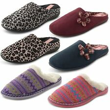 Womens Ladies Slippers Mules Dunlop Faux Suede Knitted Fur Snug Girls Shoes Size