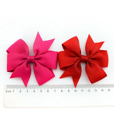 Two Pcs Girls Boutique Big Bow Hair Clips Grosgrain Ribbon Hairpin Headdress