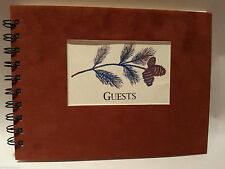 Rustic Lodge Sueded Cover CABIN GUEST BOOK with Gold Leaf Pine Branch Pattern