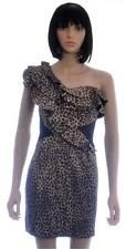 River Island Sexy Brown Leopard Animal Print Stretchy Bodycon Dress Size 8 (A9)