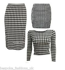 Ladies Womens Dogtooth Pencil Mini Skirt Bodysuit Polo Crop Top Cami Vest SM ML