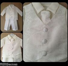 BABY BOYS CHRISTENING SUIT,WHITE OR IVORY/CREAM,PAISLEY,BAPTISM,WEDDING,OUTFIT